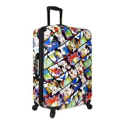 Crak 29 in. Expandable Checked Spinner Luggage, White