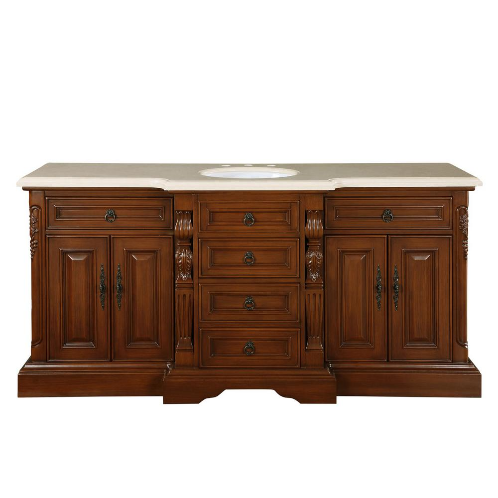 Silkroad Exclusive 72 in. W x 22 in. D Vanity in English Chestnut with Marble Vanity Top in Crema Marfil with White Basin