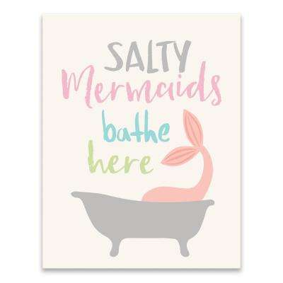 """Salty Mermaids Bathe Here""  by Lot26 Studio Printed Canvas Wall Art"