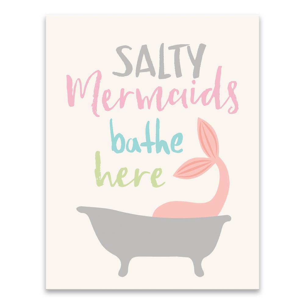 """Salty Mermaids Bathe Here"" by Lot26 Studio Printed Canvas Wall Art"