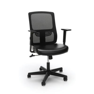 Essentials Collection Ergonomic Mesh Black Back Chair with Bonded Leather Seat