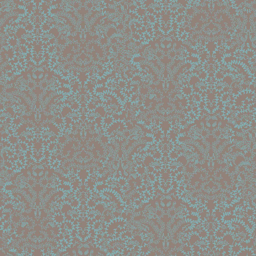 The Wallpaper Company 56 sq. ft. Brown and Blue Modern Lace Damask Effect Wallpaper