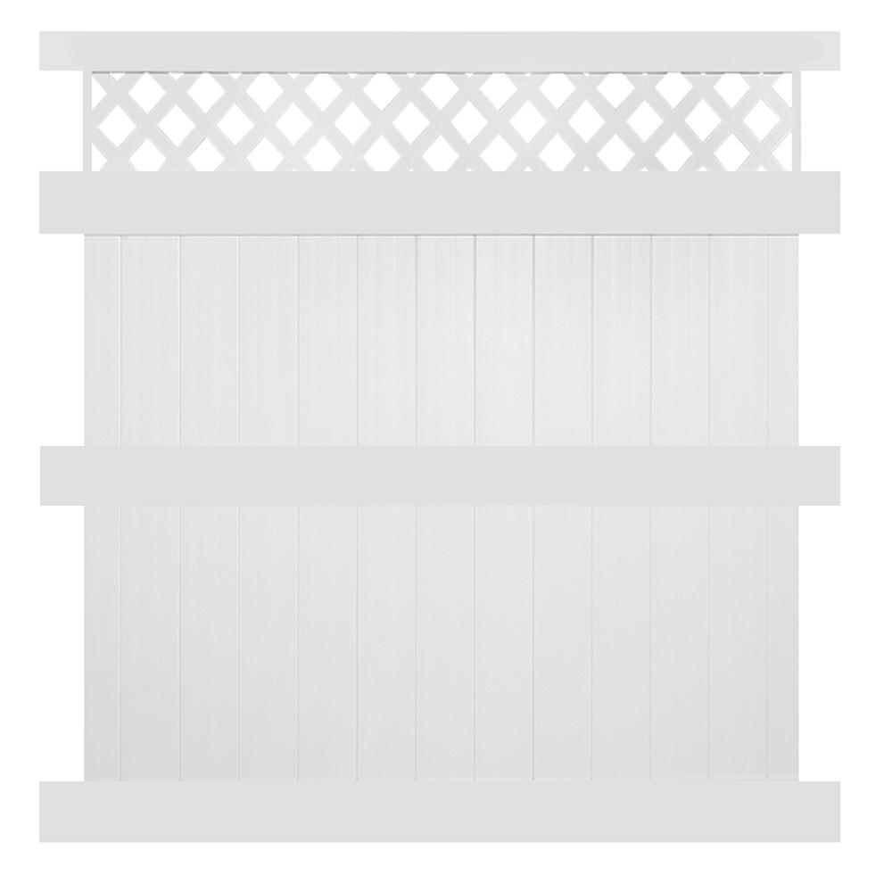 Ashton 8 ft. H x 6 ft. W White Vinyl Privacy Fence Panel Kit