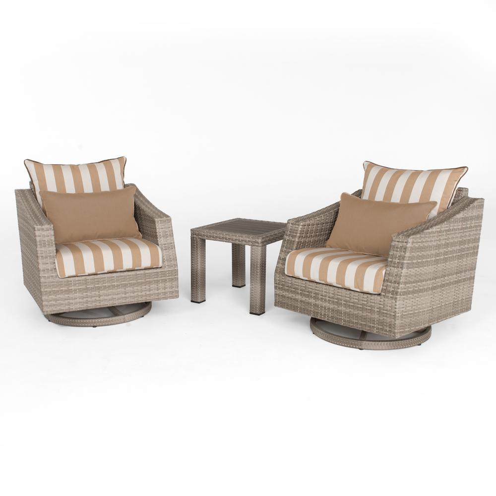 Cannes 2-Piece All-Weather Wicker Patio Deluxe Motion Club Chairs and Side