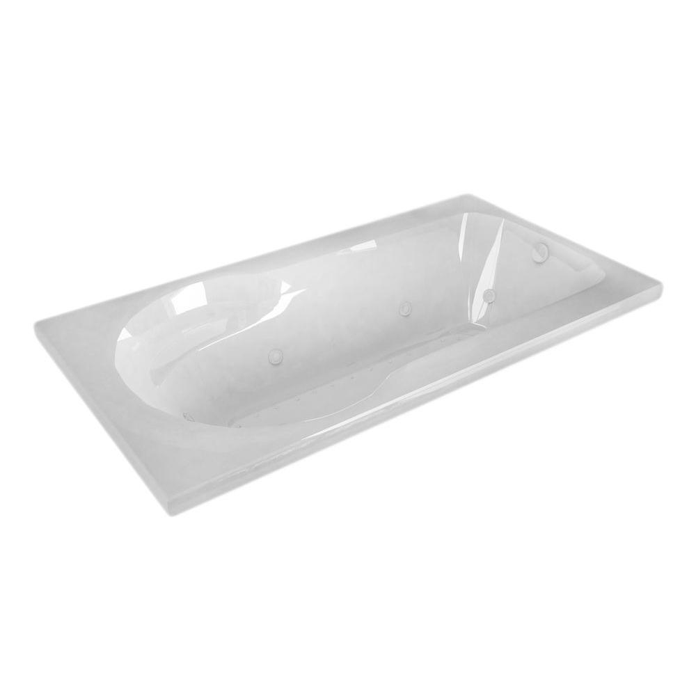 Universal Tubs Zircon 5 ft. Right Drain Rectangular Drop-in Whirlpool and Air Bath Tub in White