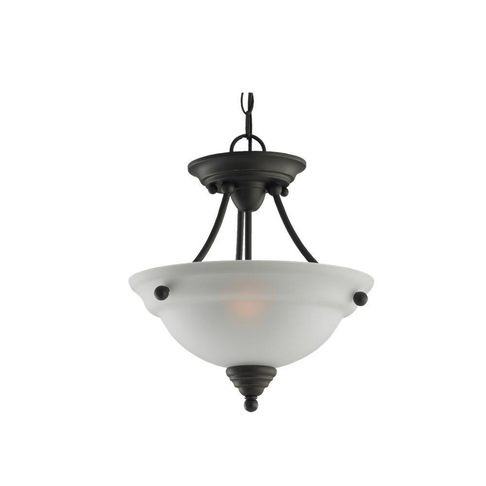 Sea Gull Lighting Albany 2-Light Indoor Convertible Heirloom Bronze Semi Flush Mount