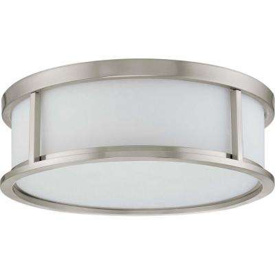 Andra 3-Light Brushed Nickel Flushmount with Satin White Glass