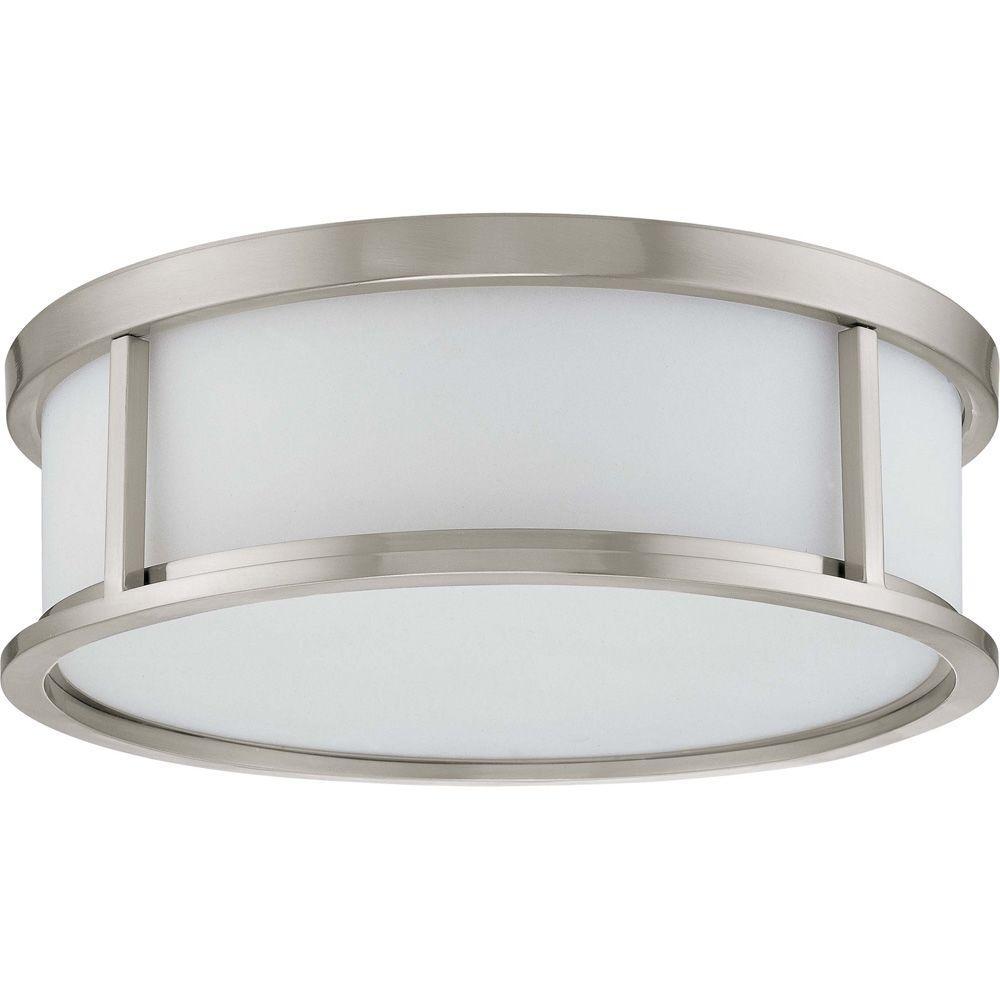 Andra 3-Light Brushed Nickel Flushmount with Satin White Glass