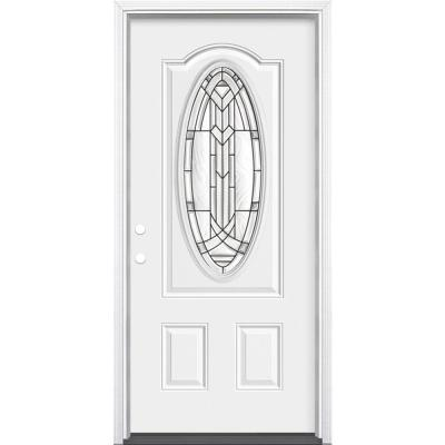 36 in. x 80 in. Chatham 3/4 Oval-Lite Right-Hand Inswing Primed Steel Prehung Front Exterior Door with Brickmold