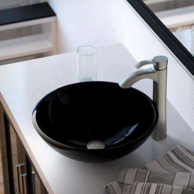 Glass Vessel Sink in Black with 726 Faucet and Pop-Up Drain in Brushed Nickel