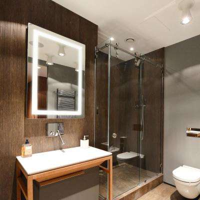 Led light bathroom mirrors bath the home depot h led backlit vanity bathroom led mirror aloadofball Gallery