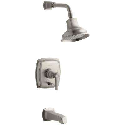 Margaux 1-Handle Rite-Temp Tub and Shower Faucet Trim Kit in Vibrant Brushed Nickel (Valve Not Included)