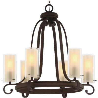 Regina 6-Light Antique Bronze Indoor Hanging Chandelier, Outer Clear Glass Shades and Inner Amber Glass Cylinder Shades