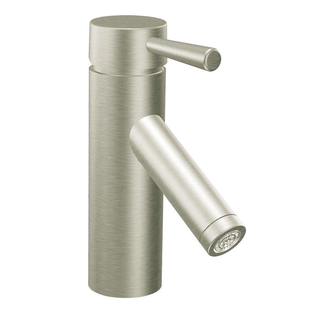 MOEN Level Single Hole 1-Handle Bathroom Faucet in Brushed Nickel