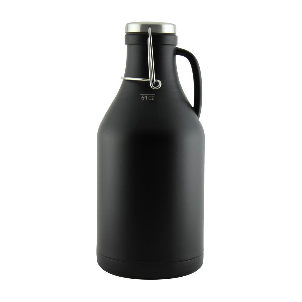 The Grizzly Black 64 oz. Double Wall Flip Top Beer Growler