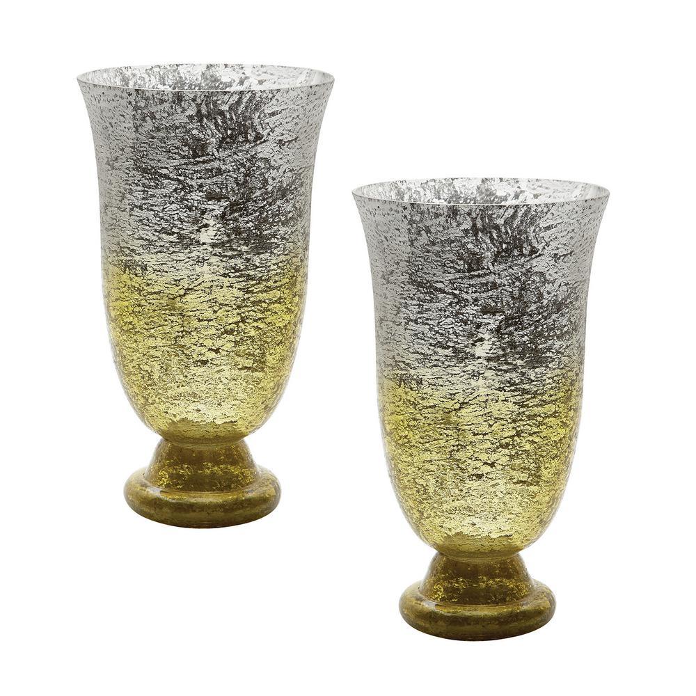 Ombre 14 in. Flared Glass Decorative Vases in Lemon (Set of 2)