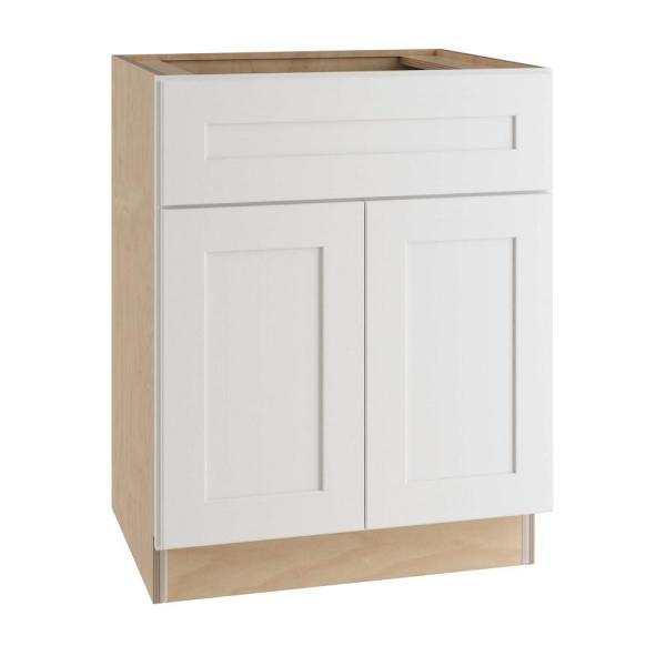 Home Decorators Collection Newport Assembled 30 X 34 5 X 21 In Plywood Shaker Vanity Sink Base Cabinet Soft Close In Painted Pacific White Vsb3021 Npw The Home Depot