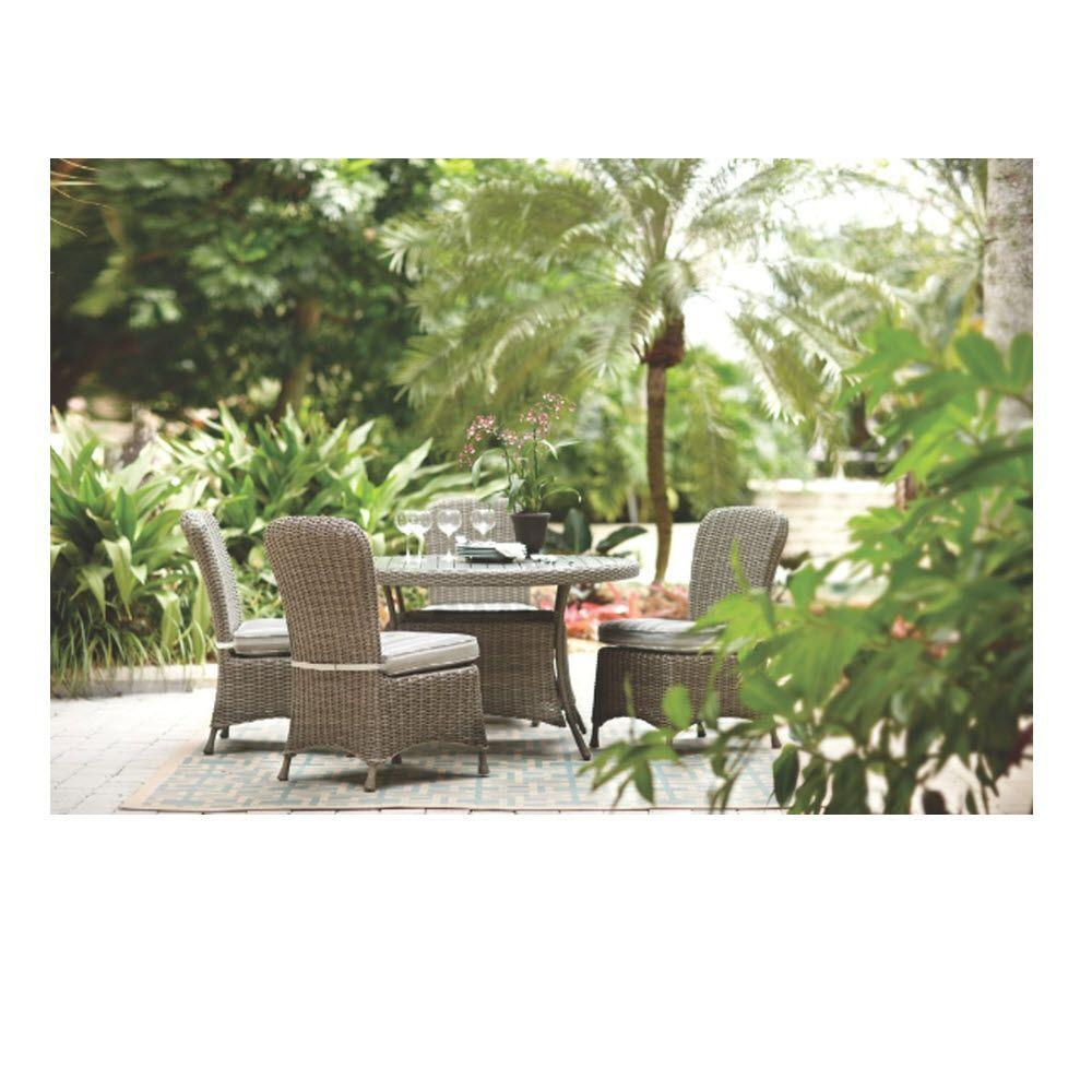 Martha Stewart Living Lake Adela Weathered Grey 5-Piece Patio Dining Set with Multi Stripe Cushions