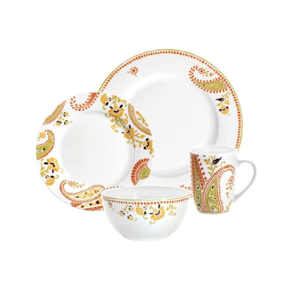 Rachael Ray Paisley 4-Piece Dinnerware Set