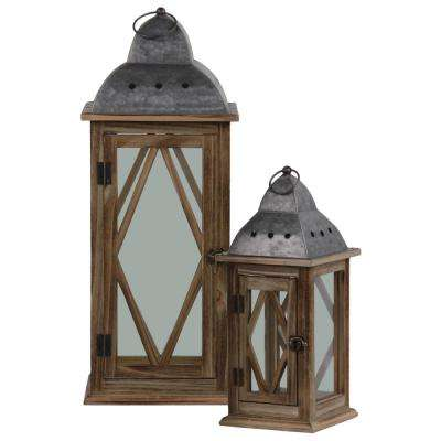UTC31448: Brown Candle Wooden Decorative Lantern
