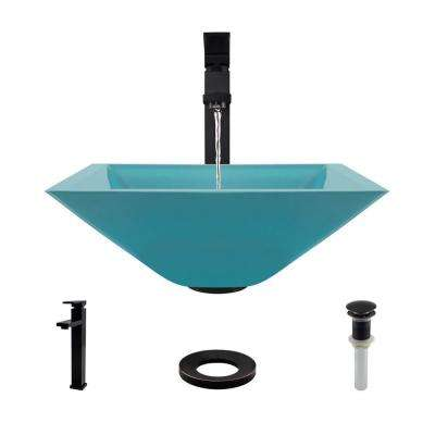 Glass Vessel Sink in Cerulean with R9-7003 Faucet and Pop-Up Drain in Antique Bronze
