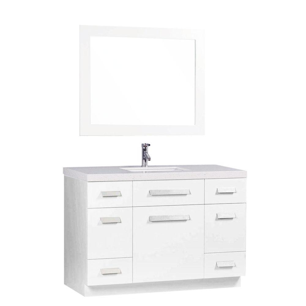 Design Element Moscony 48 in. W x 22 in. D Vanity in White with Quartz Stone Vanity Top and Mirror in White
