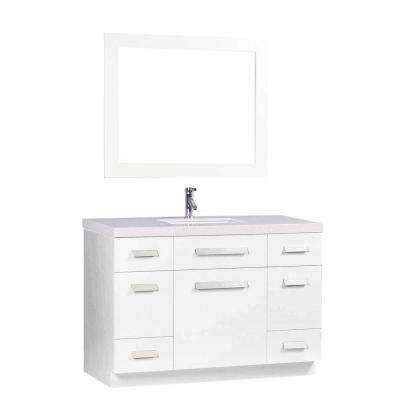 Moscony 48 in. W x 22 in. D Vanity in White with Quartz Stone Vanity Top and Mirror in White