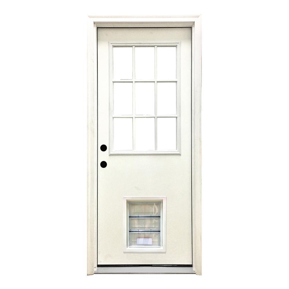 32 in. x 80 in. Classic 9 Lite RHIS White Primed Textured Fiberglass Prehung Front Door with XL Pet Door