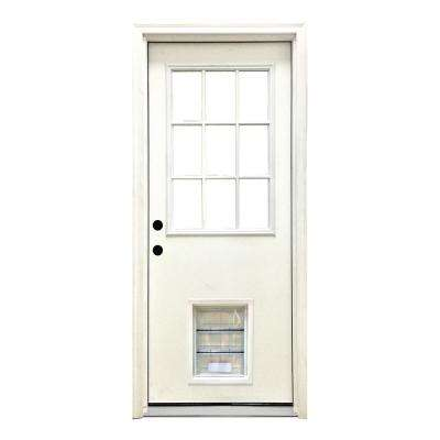 32 in. x 80 in. Classic 9 Lite RHIS White Primed Textured Fiberglass Prehung Front Door with XL Pet Door