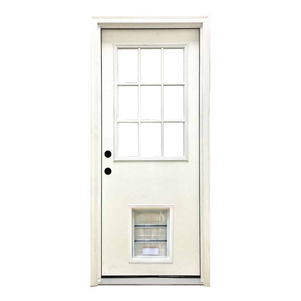 Steves sons 36 in x 80 in classic 9 lite rhis white - Home depot exterior doors 36 x 80 ...