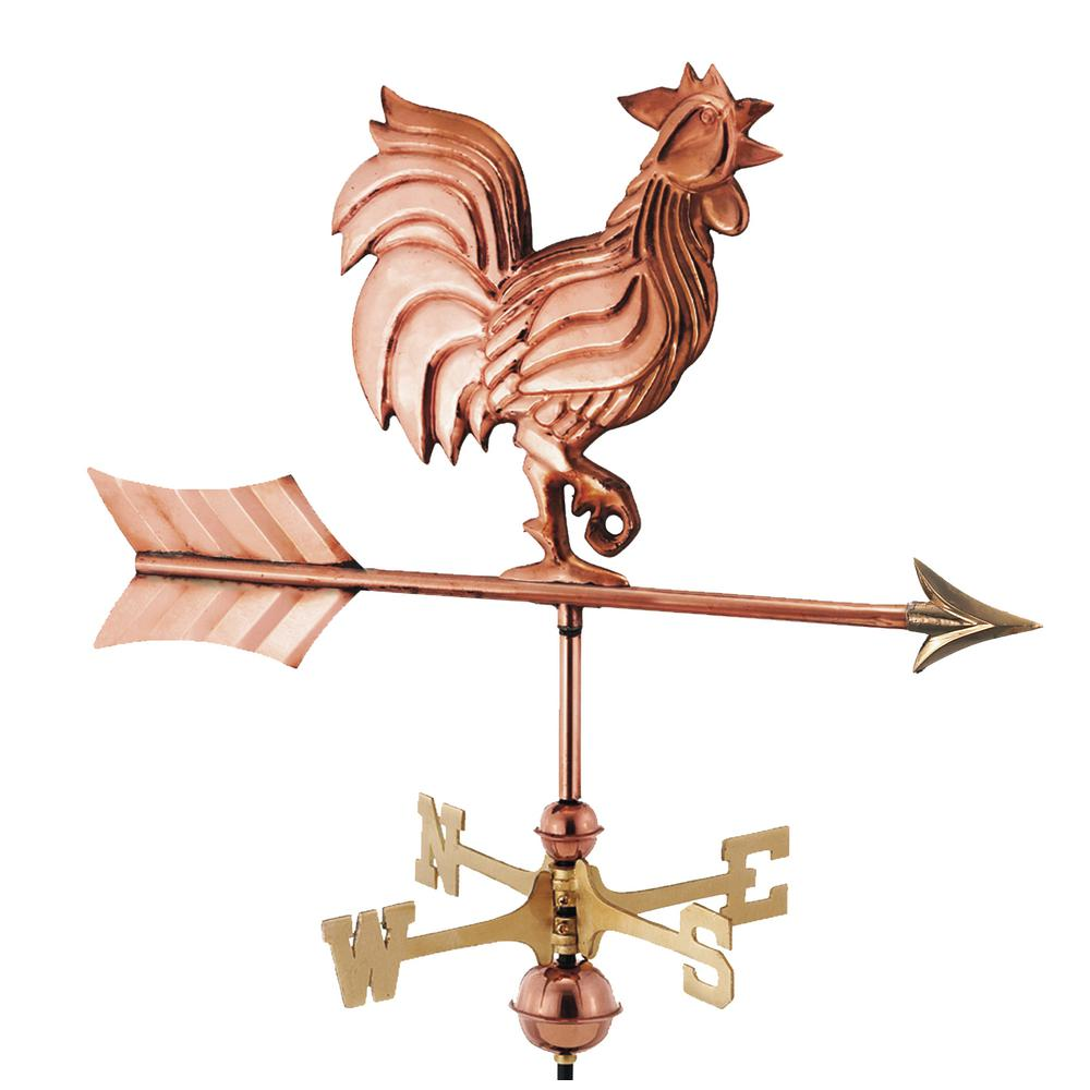 Good Directions Rooster Garden Weathervane   Pure Copper With Garden Pole