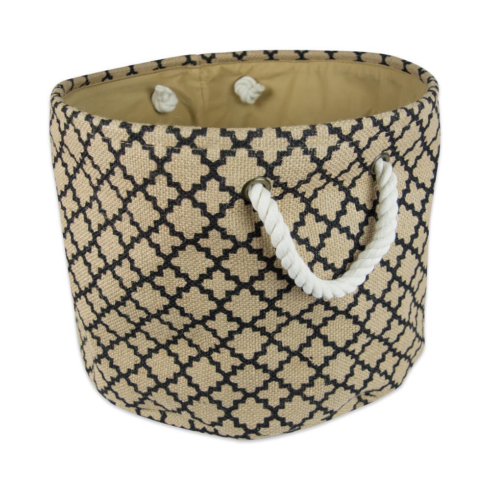 Round Burlap Lattice Decorative Bin