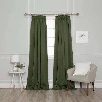 84 in. L Pencil Pleat Blackout Curtains in Moss (2-Pack)