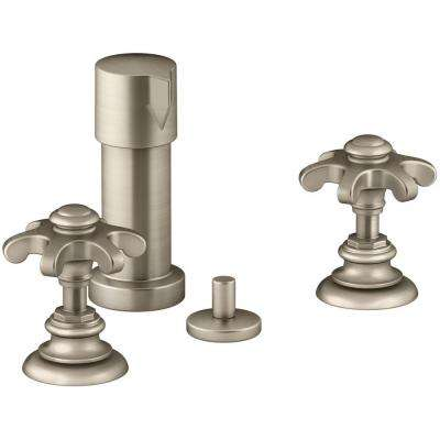 Artifacts Prong 2-Handle Bidet Faucet in Vibrant Brushed Bronze