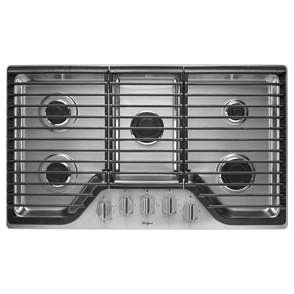 5 Burner Gas Cooktops: Whirlpool 36 In. Gas Cooktop In Stainless Steel With 5