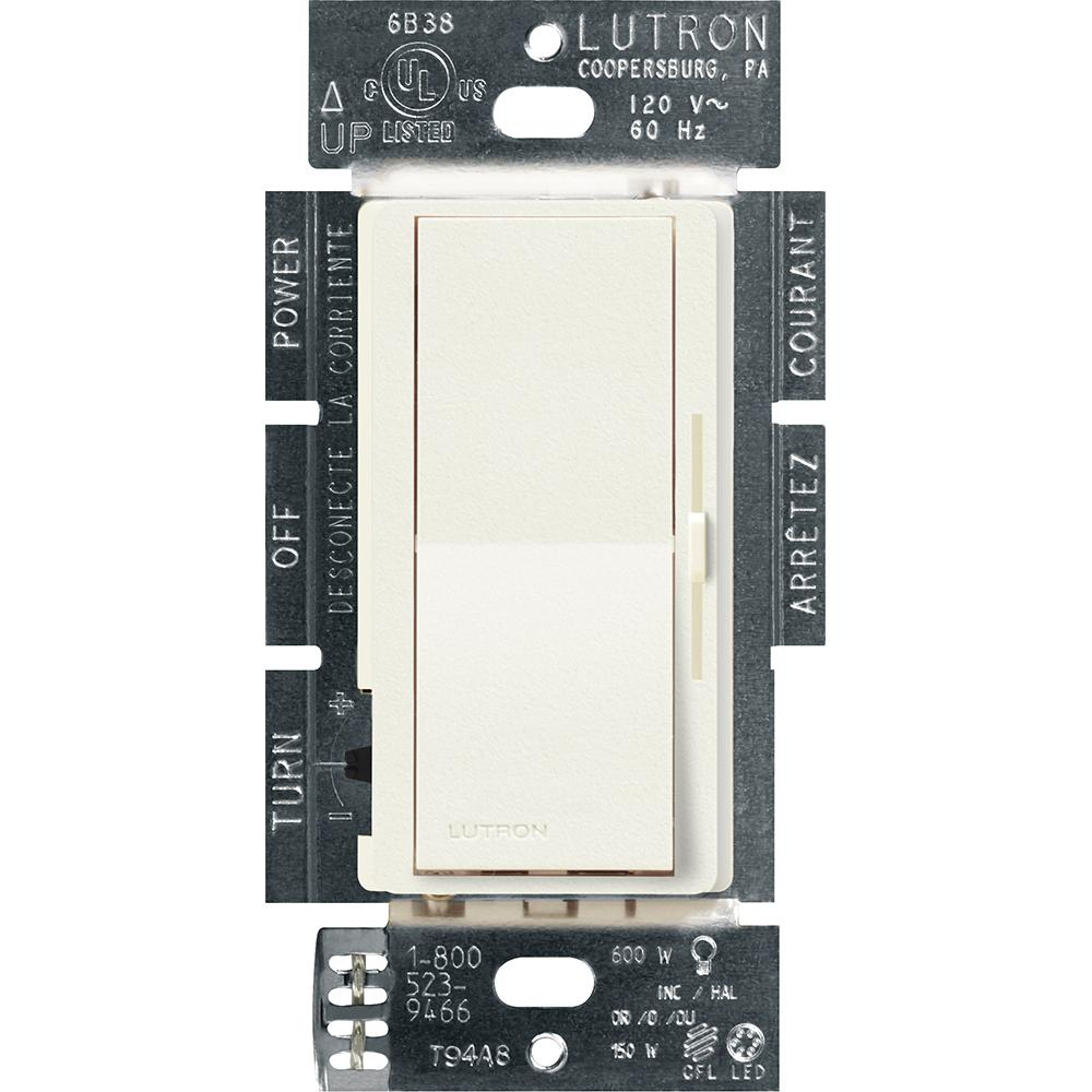 Lutron Diva C.L Dimmer Switch for Dimmable LED, Halogen and Incandescent Bulbs, Single-Pole or 3-Way, Biscuit