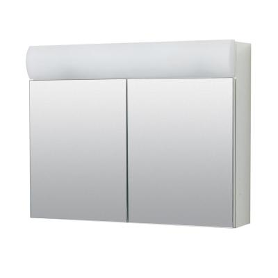 23.25 in. W x 18.63 in. H x 5.88 in. D Surface Mount Lighted Frameless Bi-View Medicine Cabinet in White
