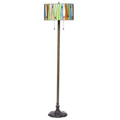 Contemporary Tiffany 58 in. 2-Light Striped Bronze Floor Lamp