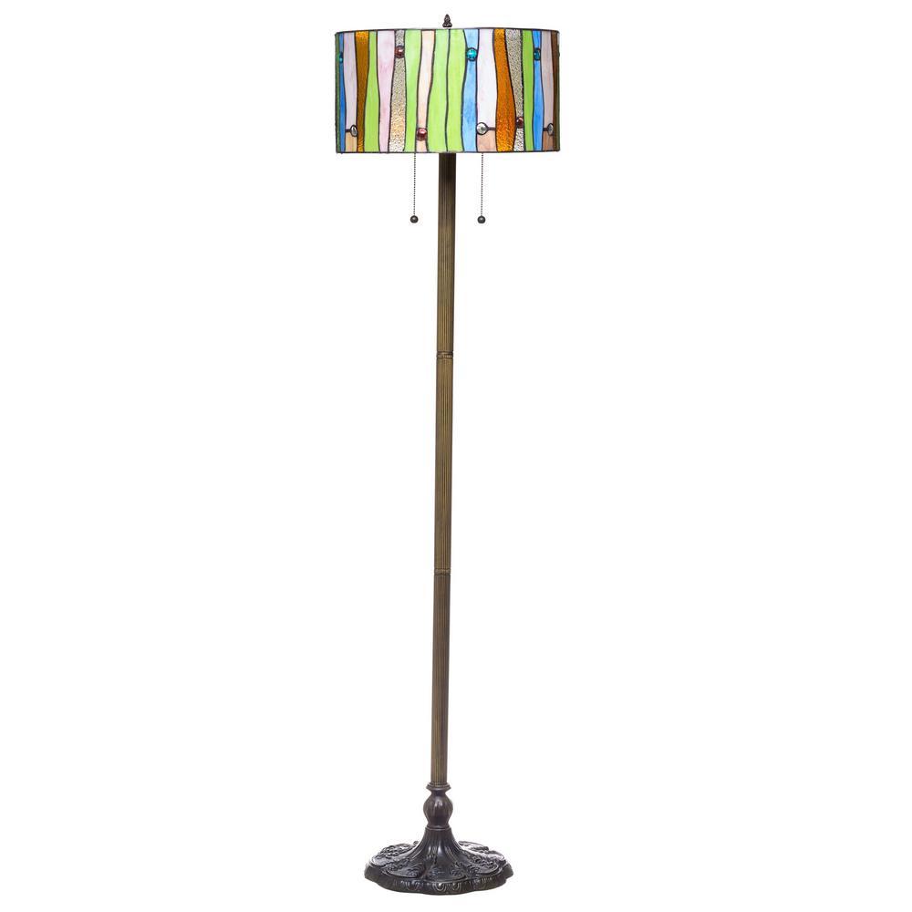 Contemporary Tiffany 58 in. 2-Light Striped Bronze Floor Lamp