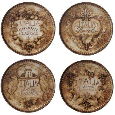 Gilded Wine Tan 6 in. Canape Plate (Set of 4)