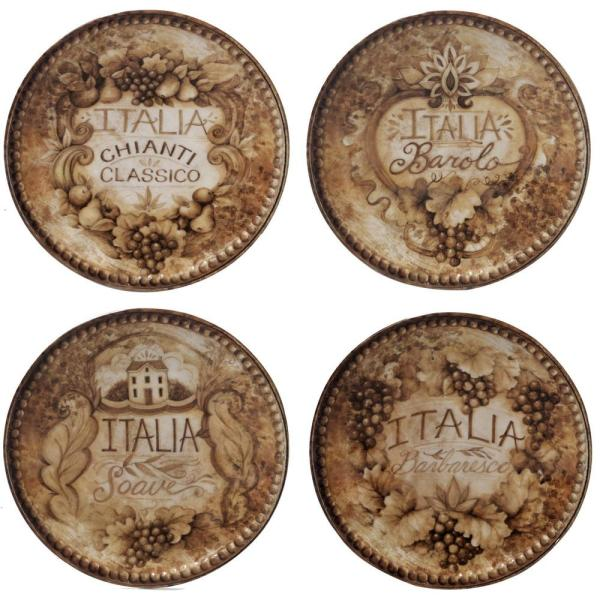 Certified International Gilded Wine Tan 6 in. Canape Plate (Set of
