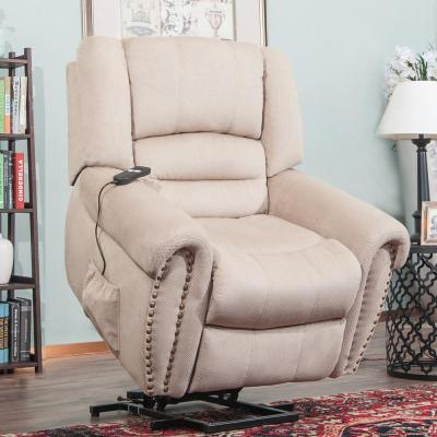 Beige Wilshire Series Heavy-Duty Power Lift Recliner Chair with Built-in Remote and 2-Castors