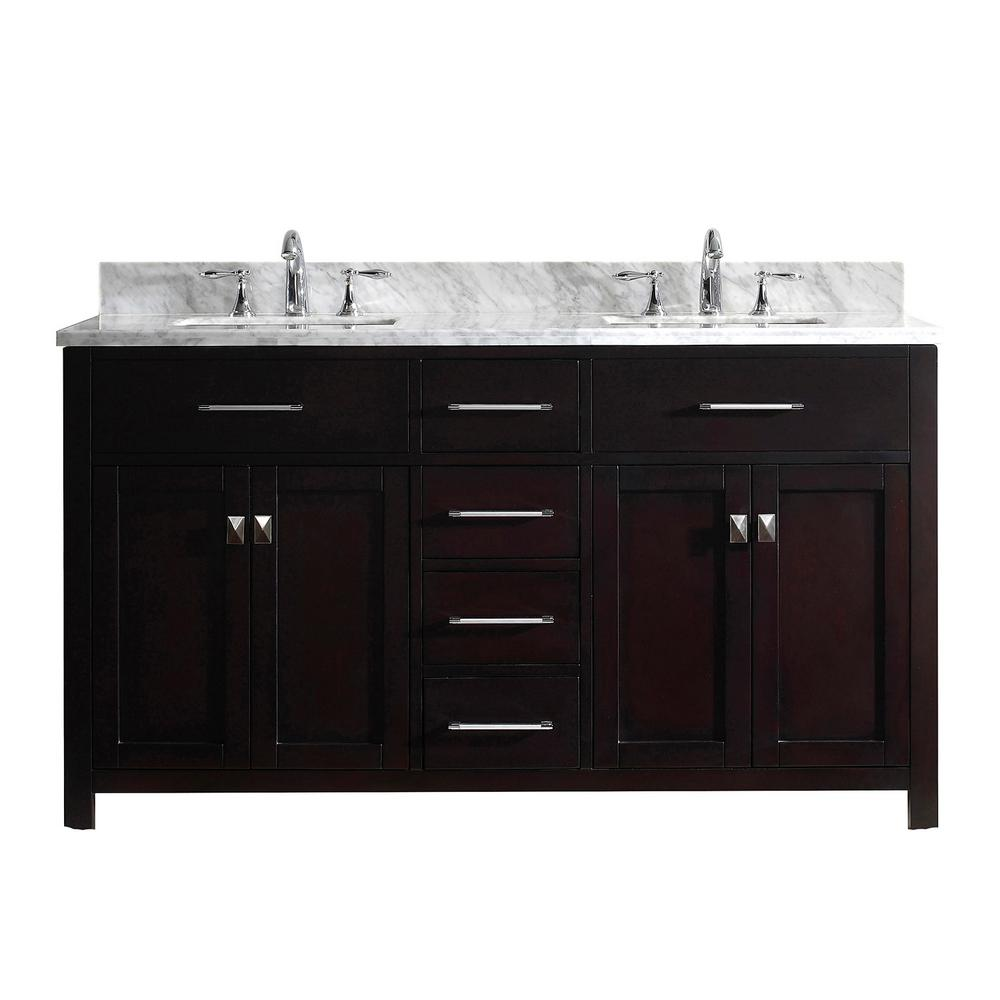 Virtu USA Caroline 60 in. W Bath Vanity in Espresso with Marble Vanity Top in White with Square Basin