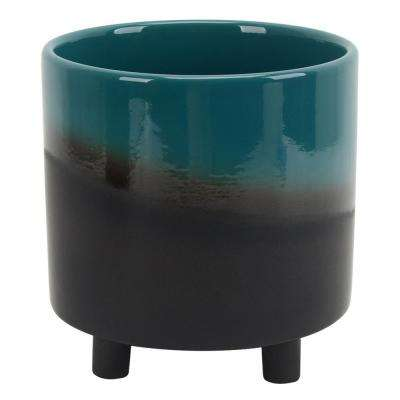 8.5 in. Ceramic Planter in Green