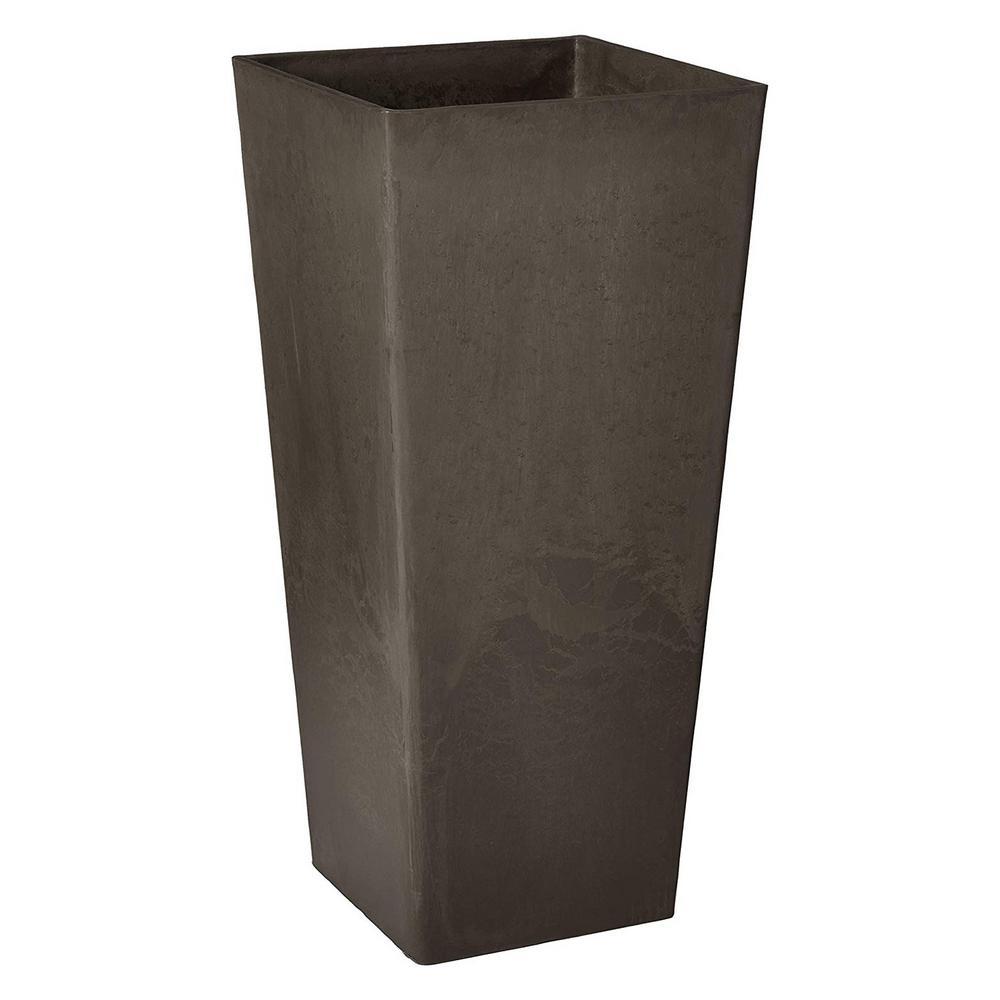 Contempo Tall Square 13 in. x 13 in. x 28 in. Dark Charcoal PSW Pot