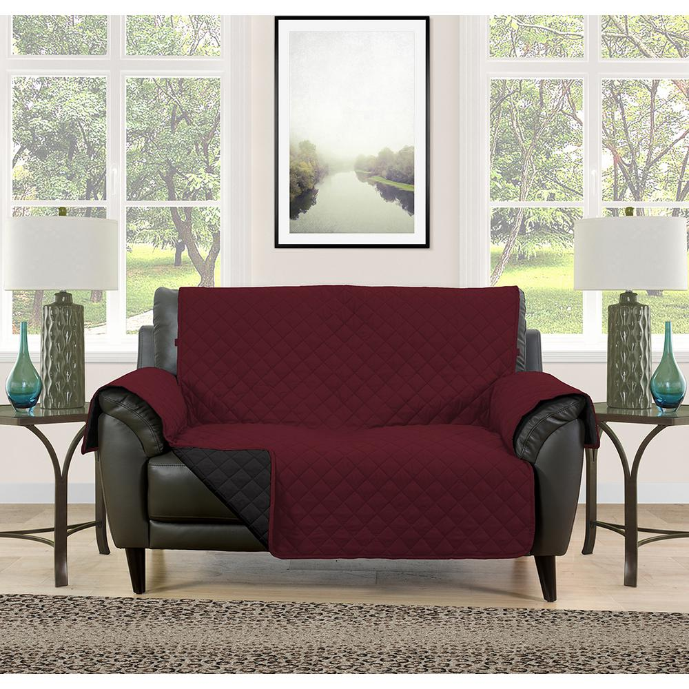 Barrett Burgundy Black Microfiber Reversible Loveseat Protector