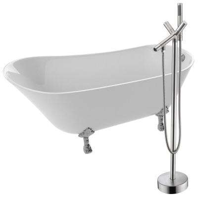 Legion 66.93 in. Acrylic Clawfoot Non-Whirlpool Bathtub in White with Havasu Faucet in Brushed Nickel
