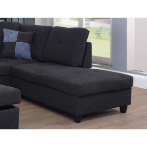 Fantastic Black Linen Left Chaise Sectional With Storage Ottoman F125A Squirreltailoven Fun Painted Chair Ideas Images Squirreltailovenorg