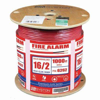 16/2 Solid Unshielded CL3R/Riser Red 1000 ft. Spool UL Fire Alarm Cable