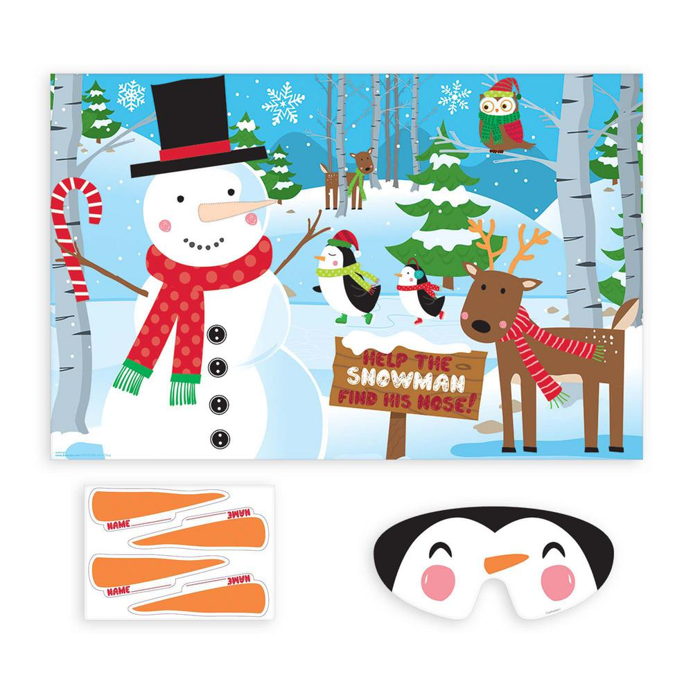 Christmas Party Images Clip Art.Amscan Pin The Nose On The Snowman Christmas Party Game 10 Count 2 Pack